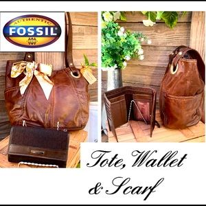 """Long Live Vintage""""Textured Leather Fossil 3pc tote"""
